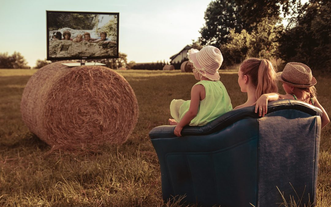 Family using IPTV service in the countryside